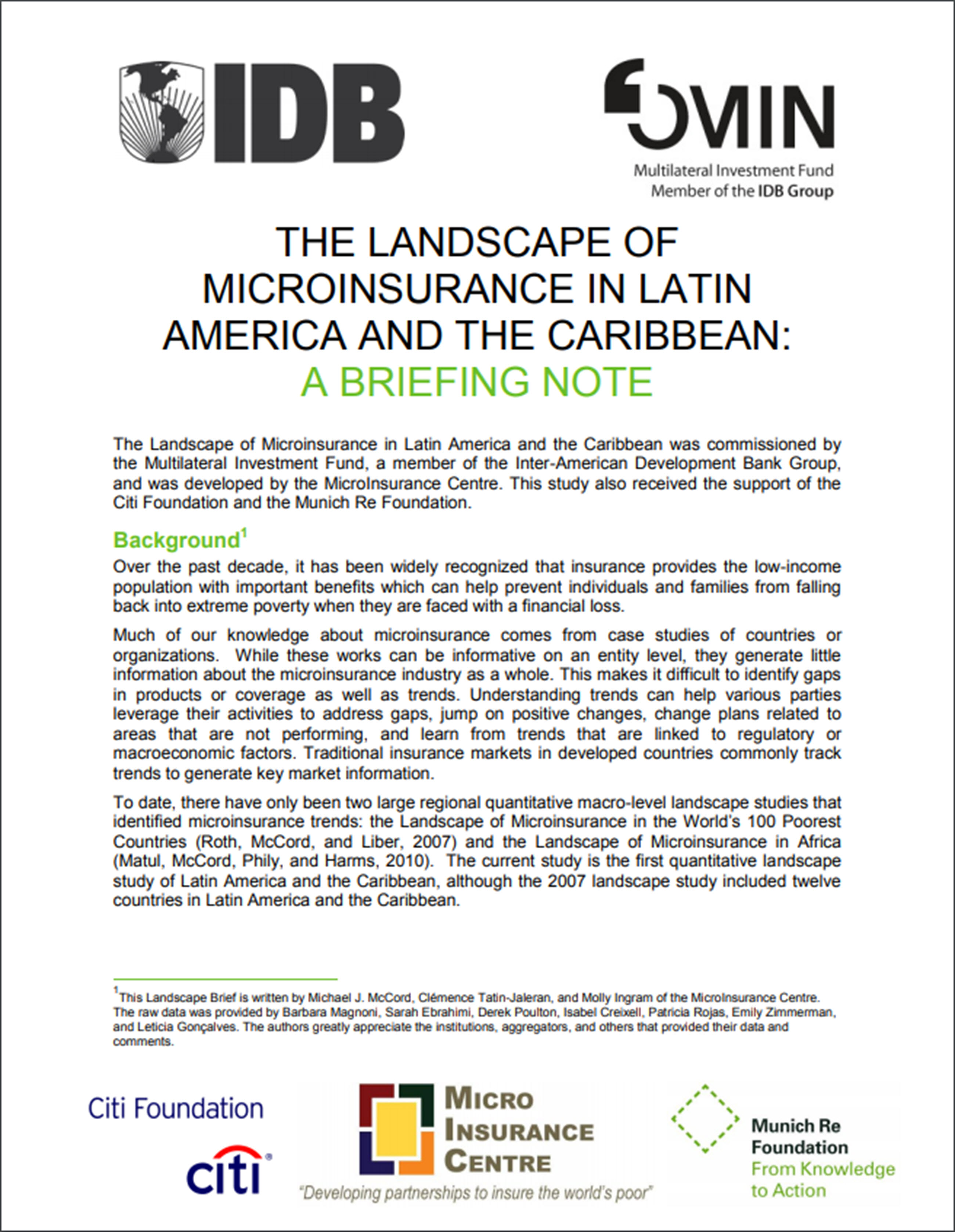The Landscape of Microinsurance in Latin America and the Caribbean